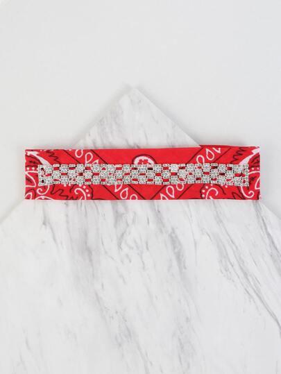Rhinestone Bandana Choker Necklace RED