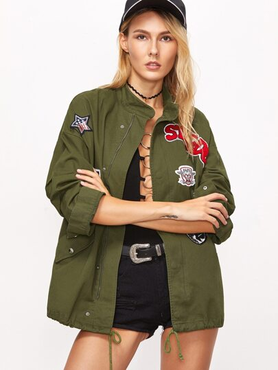 Army Green Embroidery Patch Drawstring Detail Jacket