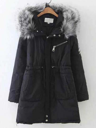 Black Drawstring Waist Hooded Padded Coat With Faux Fur