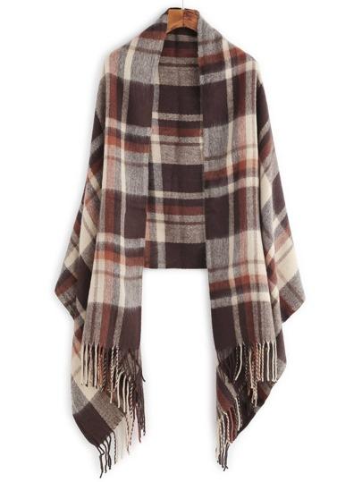 Коричневый клетчатый шарф шалью