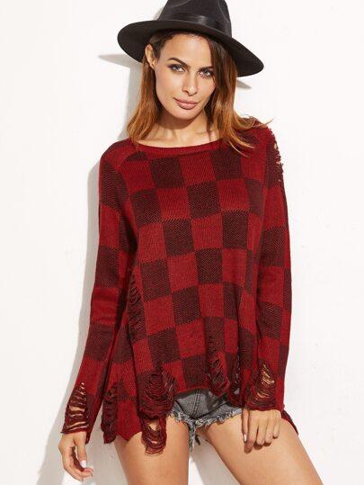 bekümmert Pullover Schlitz Hinten -burgund rot