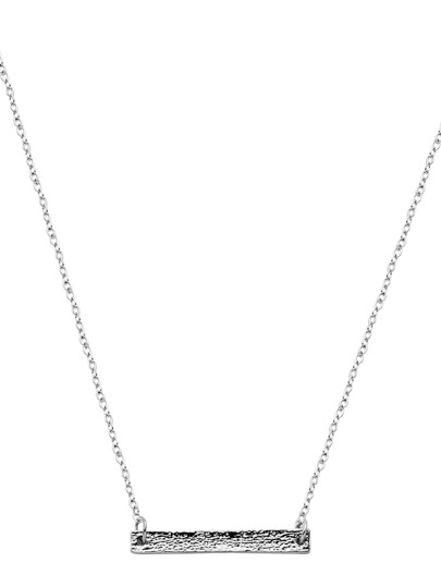 Silver Plated Horizontal Bar Pendant Necklace