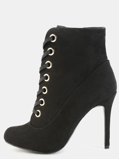 Metallic Eyelet Stiletto Booties BLACK