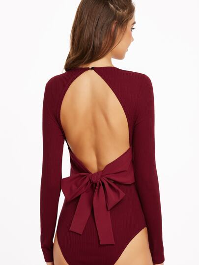 Burgundy Ribbed Knit Bow Tie Open Back Bodysuit