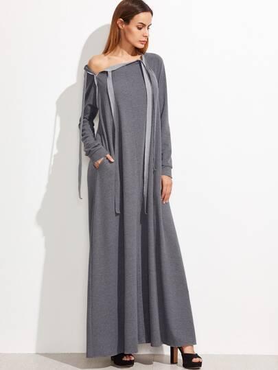 Heather Grey Tie Front Zip Detail Raglan Sleeve Tent Dress