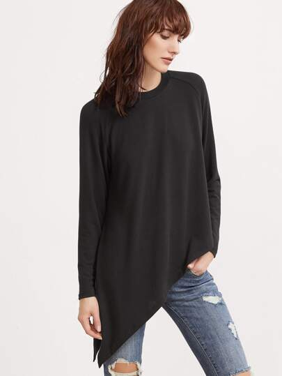 Black Raglan Sleeve Asymmetric T-shirt