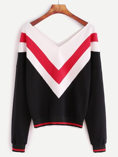 Color Block Chevron Pattern Striped Trim Double V Neck Sweatshirt