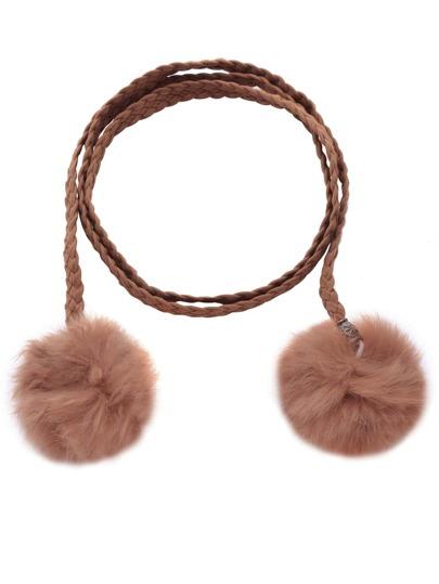Brown Faux Suede Braided Wrap Belt With Pom Pom