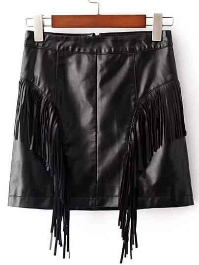 Falda de PU con detalle de flecos - negro
