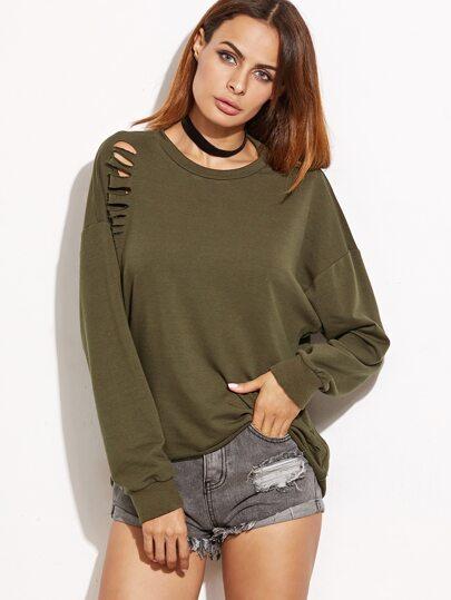Olive Green Drop Shoulder Cutout Back Distressed Sweatshirt