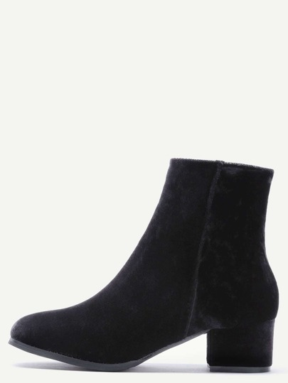 Black Velvet Side Zipper Chunky Heel Booties