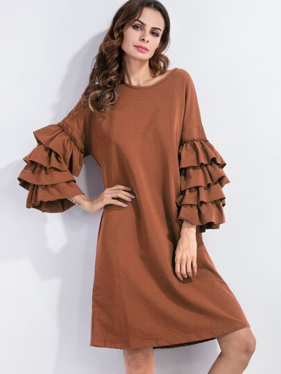 Brown Tiered Bell Sleeve Shift Dress