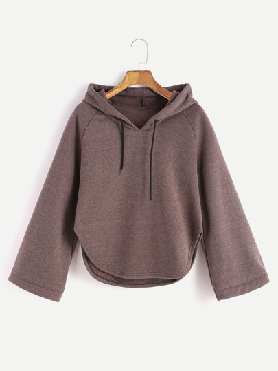 Brown Hooded Raglan Sleeve Curved Hem Sweatshirt