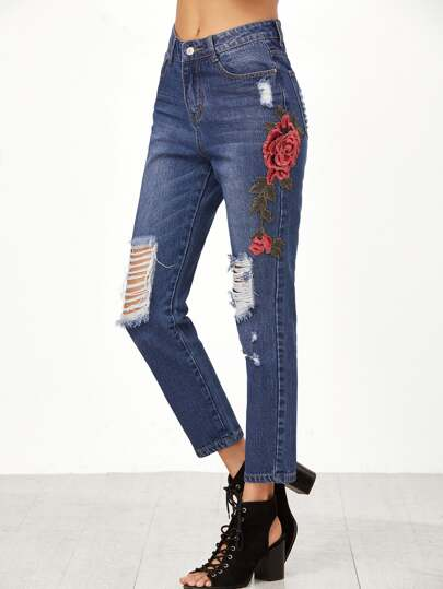 Blue Embroidered Rose Applique Distressed Jeans
