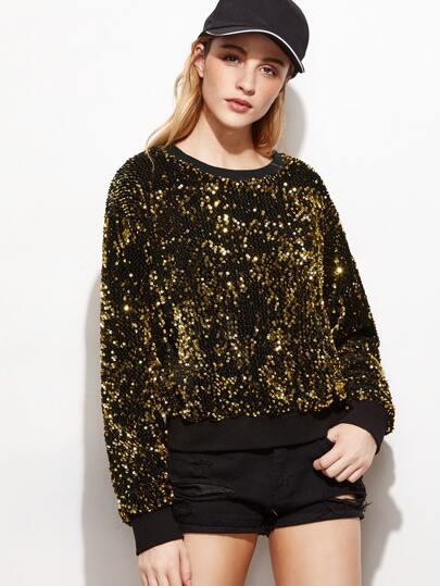 Sweat-shirt col rond en broderie avec paillette - doré
