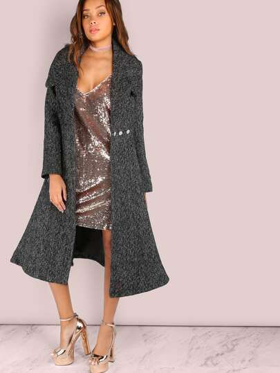 Peppered Wool Longline Circle Coat BLACK