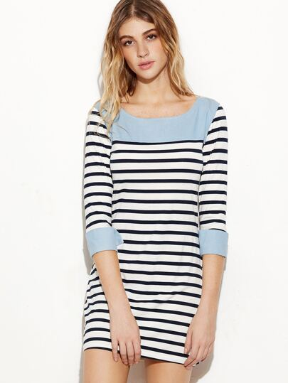 Contrast Trim Striped Cuffed Sheath Dress