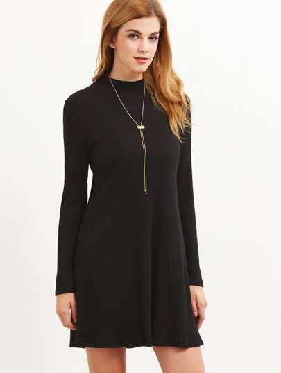 Black Ribbed Knit Cutout Back Swing Dress