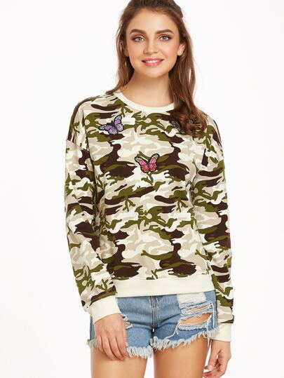 Olive Green Camo Print Sweatshirt With Butterfly Patch