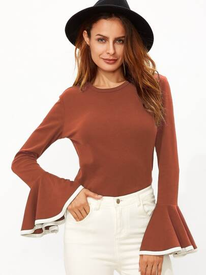 Brick Red Contrast Edge Bell Sleeve T-Shirt