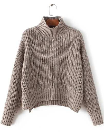 Mock Neck Drop Shoulder Dip Hem Sweater