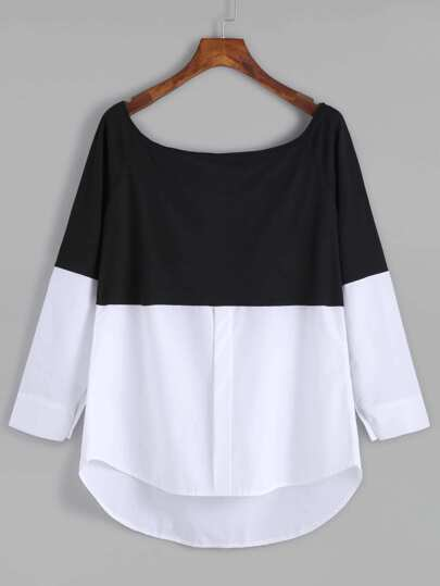 Black White Contrast Scoop Neck Dip Hem T-shirt