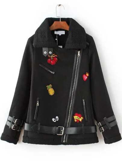 Black Patch Embroidery Oblique Zipper Coat With Belt