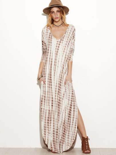 Brown Tie Dye Print Deep V Neck Curved Hem Dress