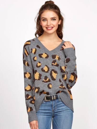 Pull léopard à col V à l'épaule laissé -gris