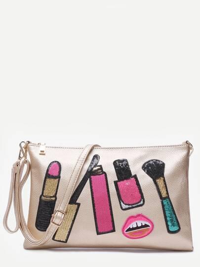 Makeup Brush Metallic Gold Clutch Bag With Strap