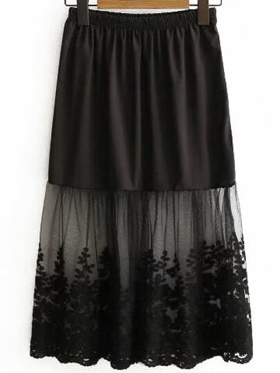 Black Lace Insert Midi Skirt