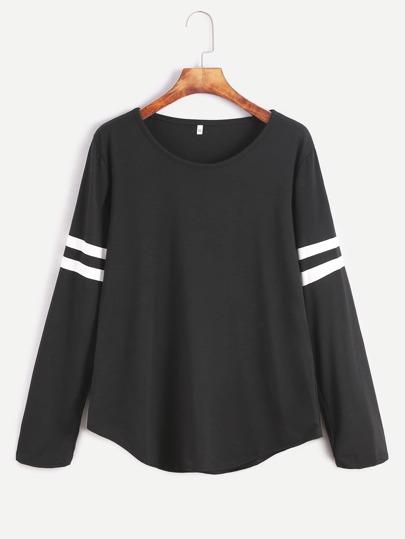 T-shirt Uni Streifen Langarm-schwarz