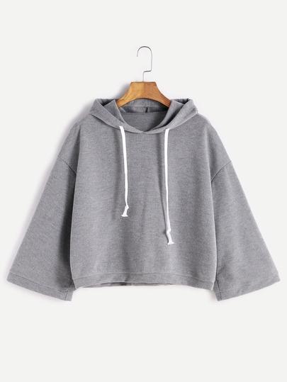 Grey Hooded Drop Shoulder Loose Sweatshirt