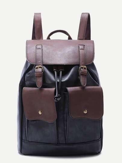 Black Double Pocket Buckled Drawstring PU Backpack
