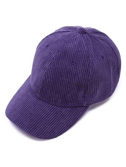 Фиолетовая  вельветовая бейсболка