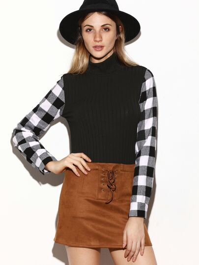 Black Ribbed Knit Checkered Sleeve T-shirt