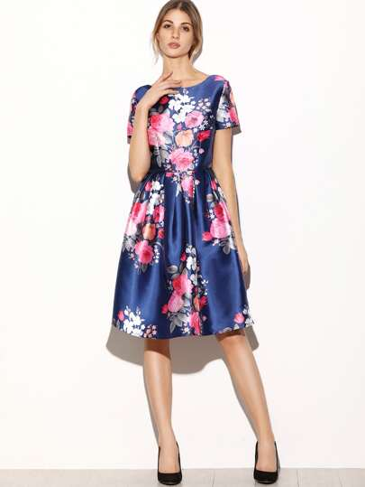 Navy Flower Print V Back Box Pleated Flare Dress