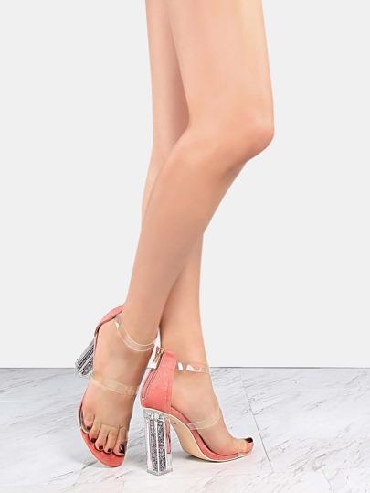 Faux Suede Clear Strap Glitter Heels ROSE
