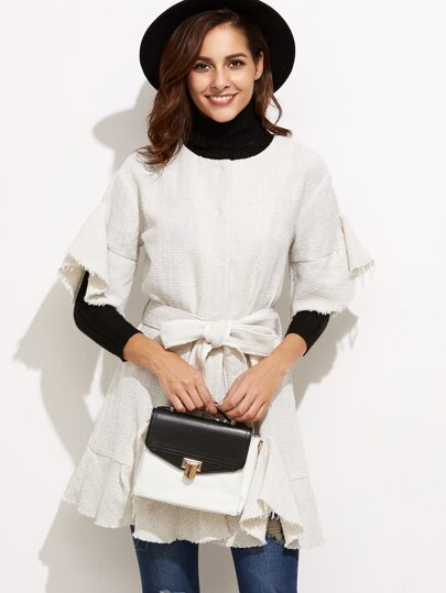 White Frayed Trim Belted Tweed Coat