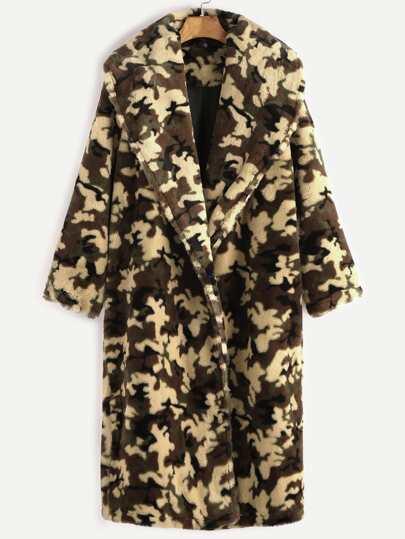 Olive Green Shawl Collar Camo Fleece Coat