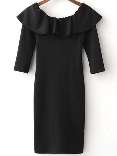Black Ruffle Off The Shoulder Three Quarter Sleeve Dress