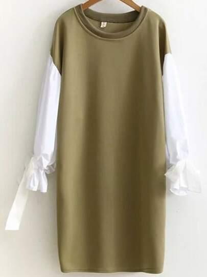 Army Green Color Block Tie Cuff Side Slit Sweatshirt Dress
