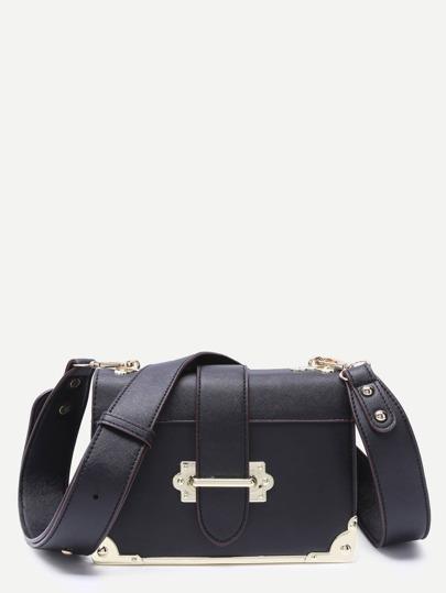 Black Contrast Metallic Trim Boxy PU Shoulder Bag