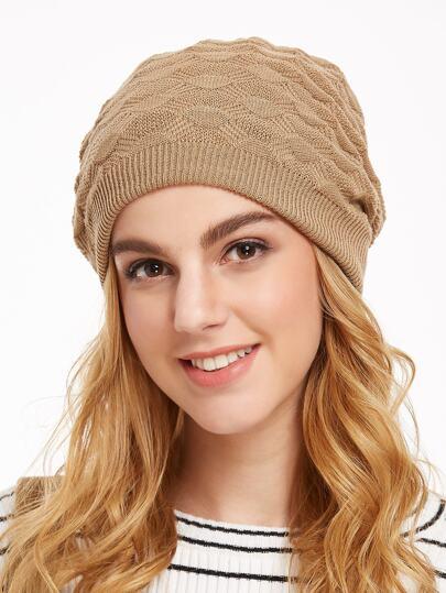 Khaki Texture Knitted Beanie Hat
