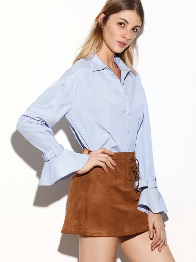 Blue Vertical Striped Belted Ruffle Cuff Blouse
