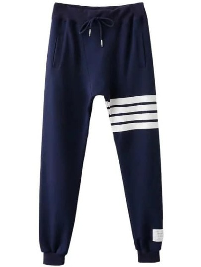 Navy Striped Detail Drawstring Waist Pants