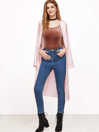 Pink Striped Open Front Slit Side Outerwear