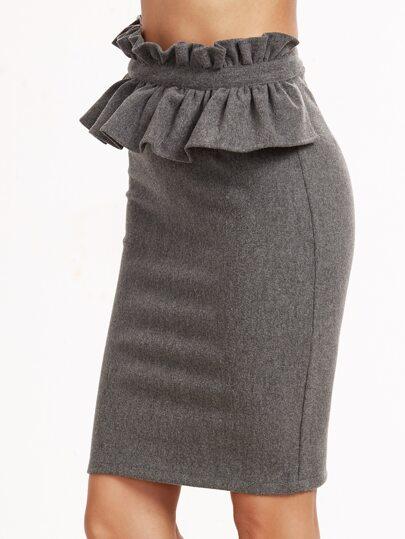 Grey Ruffle Trim Slit Back Pencil Skirt