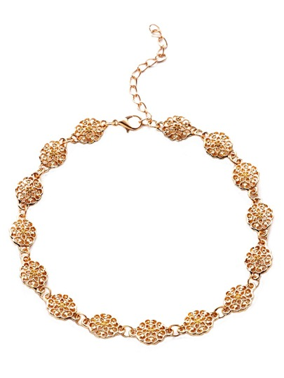 Gold Metal Floral Hollow Out Choker Necklace