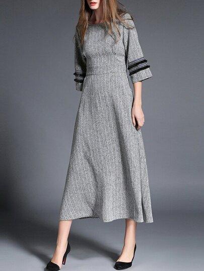 lange Kleid mit Taschen Umlegekragen-grau